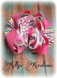 summer Pink Watermelon stacked hair bow https://www.facebook.com/media/set/?set=a.897934796912431.1073741887.664051576967422&type=3