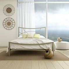 Amisco Equinox Metal Bed Queen Size 60 TitaniumMat Light Grey >>> Want additional info? Click on the image. (This is an affiliate link)