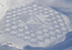 English artist Simon Beck has created a series of incredible geometric patterns simply by walking in snow.