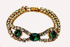Vintage Green and Clear Rhinestone Bracelet by serendipitytreasure