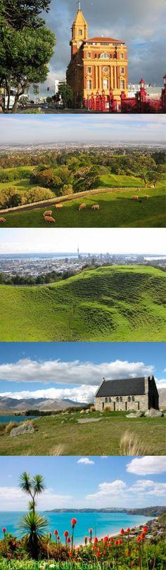 Glimpses of New Zealand.Auckland City, North Island & Church Of Good Shepard, Lake Tekapo, South Island The Beautiful Country, Beautiful World, Good Shepard, Lake Tekapo, New Zealand North, City North, Kiwiana, Australia, Dream City