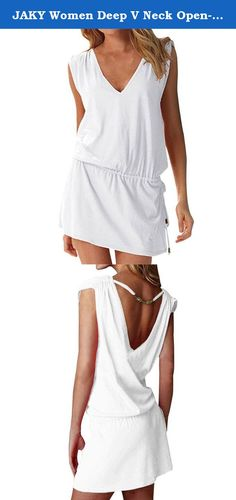 JAKY Women Deep V Neck Open-back Beach Cover Up Beach Skirt(White). No more worries about the sun when wearing bikini or swimsuit on the beach the cover up will offer you the most sexy style and without awkward.Fashion and bright-coloured makes the beach more actively. About the product Color:White,Red,Green,Acid Blue,Blue,Coral Red,Rose,Purple,Black,Peacock Blue Material 100% polyster and high quality - Self Tie closure, easy to put on or take off - Silky material makes skin very cool in...