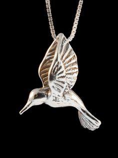 Hummingbird Necklace Hummingbird Jewelry  Large Silver