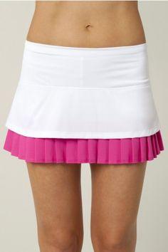 Lucky in Love Women's Tennis Apparel- Viva Brazil Collection: Colorblock  Layered Pleat Skort LIL-CB19