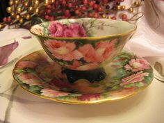 Limoges, France - French Roses Footed Tea Cup & Saucer hand painted. Exquisite. Keva xo.