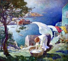 """Wash Day on the Maine Coast"" or ""Washday, Port Clyde,"" N. Wyeth, ca. oil on canvas, 48 × private collection. Nc Wyeth, Beautiful Paintings, Paintings Famous, Famous Artists, American Artists, Line Art, Illustrators, Oil On Canvas, Watercolor Paintings"