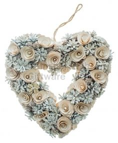 White Pinecone Heart WreathWoodland style heart wreath from Heaven SendsA great ornamental piece for your home this Christmas 30 or Heart Wreath, Pine Cones, Christmas Wreaths, Shabby, Holiday Decor, Crafts, Woodland, Beauty, Manualidades