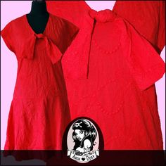 Vintage 1960s Red Embroidered Twiggy Sailor Frilled Scooter MOD Mini Dress UK10