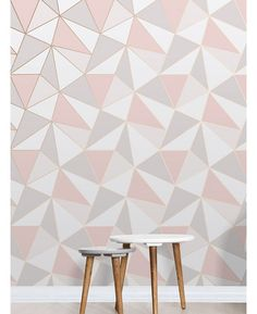 Apex Geometric Wallpaper Rose Gold Fine Decor This Apex Geometric Wallpaper in tones of pink, white and grey features a contemporary geometric pattern with a metallic outline. Free UK delivery available Geometric Wallpaper Rose Gold, Grey Tone Wallpaper, Rose Gold Bedroom Wallpaper, Grey Kitchen Wallpaper, Geometric Wallpaper Living Room, Geometric Decor, Living Room Decor, Bedroom Decor, Living Rooms