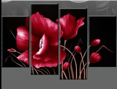 black, white & red wall decor | LARGE RED AND BLACK FLORAL FLOWER CANVAS PICTURE WALL ART SPLIT MULTI ...