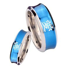 6MM, 8MM Size 4 to 13 Gold IP Titanium Kanji Love Dome Engraved Ring