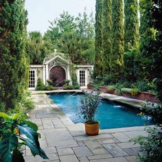 Garden pool area outdoor spaces ideas for 2019 Living Pool, Charleston Gardens, Cool Pools, Interior Exterior, Exterior Design, Pool Houses, Pool Designs, Outdoor Rooms, Outdoor Areas