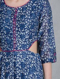 Indigo Block Printed Elasticated Waist Flare Cotton Dress by Raiman Sethi Printed Kurti Designs, Kurti Neck Designs, Blouse Designs, Indian Fashion, Retro Fashion, Boho Fashion, Indian Gowns, Pakistani Dresses, Indigo Prints