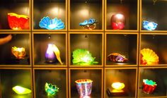 Chihuly - gift shop at Morean Arts Center, St. Petersburg, Florida - wish I could afford the green piece in the middle!