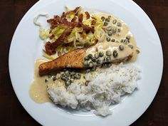 Salmon, jasmin rice, mustard sauce, capers, Belgian endives with bacon crumble