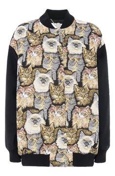 Adorable kittens peer out from this drop-shoulder, Italian-jacquard jacket for a playful combination of '70's eclecticism and feline kitsch.