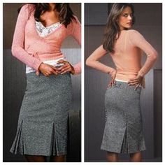 Body by Victoria Tweed Pencil Skirt Beautiful gray tweed skirt with pleats. Lined, and warm. Barely worn and in like new condition Victoria's Secret Skirts Pencil