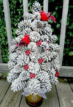 Turn a handful of pine cones into the most unique tabletop trees you have ever seen. If you like out of the box ideas, then you will love this innovative Pretty Pine Cone Tree Craft. Pine cone crafts for Christmas are the best. Pine Cone Tree, Pine Cone Christmas Tree, Cone Trees, Tabletop Christmas Tree, Rustic Christmas, Christmas Crafts, Christmas Christmas, Primitive Christmas, Pine Cone Wreath
