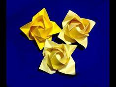 Origami rose - flower. Ideas for gift decor. Fukuyama Rose. Ideas for Christmas - YouTube