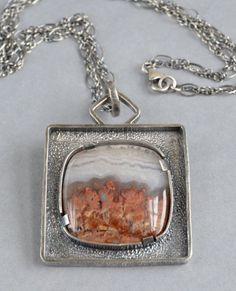 Prudent Man agate sterling silver pendant necklace by Lauren Meredith