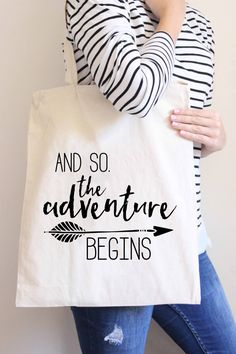 Canvas Tote Bag, Adventure Begins Tote Bag, Cotton Canvas Tote Bag, Printed Tote…