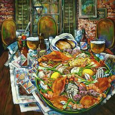 """""""Hot Boiled Crabs"""" by Dianne Parks - a great restaurant scene from New Orleans"""