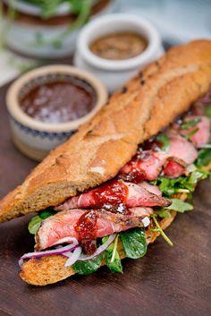 Ballymaloe Steak Sandwich with Steak Sauce - Ballymaloe Foods Juicy Steak, Strip Steak, Sandwiches, Bbq, Brunch, Rest, Foods, Dinner, Cooking