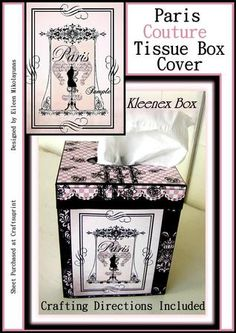 Paris Couture Kleenex Brand Tissue Box Cover on Craftsuprint designed by Eileen Mikolayunas - This Tissue Box Cover would make the Perfect Gift for that Hard To Buy For Person. It has been sized to fit KLEENEX BRAND TISSUES and may not fit correctly on top of other Square Box Tissue Brands. Once you have crafted the Cover, it is removeable and can be placed over a new Box of Tissues when your other becomes empty. The Flea Market Chic French Dressform Label appears on all four sides of the…