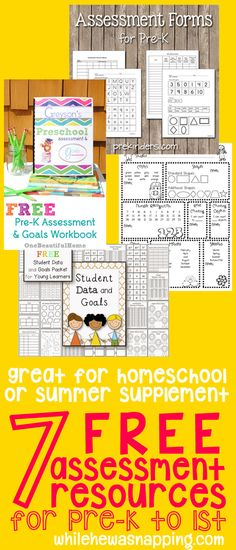 7 Free Assessment Resources for Pre-K to 1st. Find out just what your kiddo knows with these FREE assessments. Perfect for end of year/beginning of summer home-based learning.