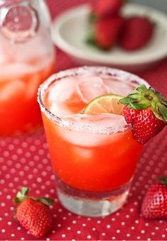 Strawberry Margarita:  4 ounces Grand Marnier or Triple Sec  3 ounces Tequila  4 ounces lime juice  5 ounces strawberry simple syrup [recipe below]  lime + fresh strawberries for garnish  salt + sugar for the rim