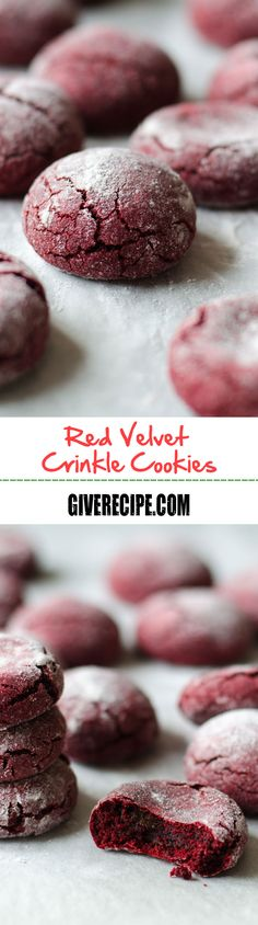 Red Velvet Crinkle Cookies are very chewy outside and moist inside. You will fall in love with the flavor of melted chocolate in these. | giverecipe.com | #redvelvet #cookies