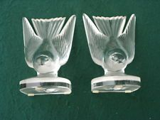 AMAZING SET OF LALIQUE PARIS CRYSTAL GLASS SPARROW BOOK ENDS IN MINT CONDITION - $220