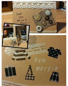 Handmade greeting card ~ masking tape + kraft card, simple designed as gift card with Shadow box