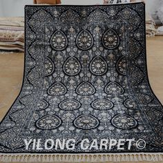 Yilong 6'x9' Handmade Persian Silk Rugs Hand Knotted Oriental Porch Carpets 1570