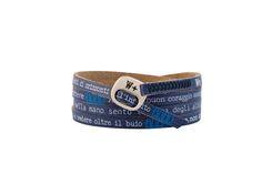 Braccialetto We Posivite colore Blu. Realizzati a mano, in vera pelle, con fibbia finita in argento invecchiato, nikel free.