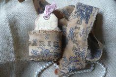 Vintage French Blue Toile Handmade Ribbon by nancyslavenderfarm on Etsy https://www.etsy.com/listing/66992690/vintage-french-blue-toile-handmade