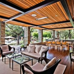 Architecture, Amazing Outdoor Living Space Open Floor To Dining Area At Modern Home Porch With Wooden Floor Under Wooden Ceiling: Cozy Home Design with Comfortable Feeling Indoors and Outdoors Home Porch, House With Porch, Cozy House, Porch Bed, Outdoor Rooms, Outdoor Furniture Sets, Outdoor Decor, Nice Furniture, Rustic Outdoor