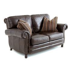 Compact design that's sure to please, the Steve Silver Chateau Leather Loveseat with 2 Accent Pillows - Antique Chocolate Brown brings style. Leather Reclining Sofa, Leather Loveseat, Accent Pillows, Throw Pillows, Living Room Furniture, Love Seat, Family Room, Chocolate Brown, Antiques