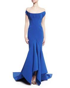 B3QLT Zac Posen Scoop Off-the-Shoulder Trumpet Gown, Blue