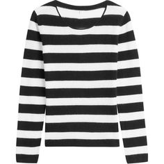 81 Hours by Dear Cashmere Striped Cashmere Pullover (228,190 KRW) ❤ liked on Polyvore featuring tops, sweaters, striped, striped sweater, sweater pullover, cashmere pullover, black and white top and striped pullover sweater