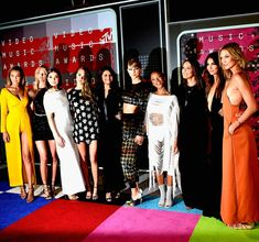 Models Gigi Hadid, Martha Hunt, actress Hailee Steinfeld, model Cara Delevingne, actress Selena Gomez, musician Taylor Swift, model Serayah, actress Mariska Hargitay, models Lily Aldridge and Karlie Kloss arrive at the 2015 MTV Video Music Awards at Microsoft Theater on August 30, 2015 in Los Angeles, California.