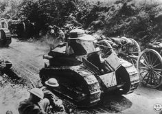World War I, French tanks (or chars d'assaults) moving up to the front, 1918, U.S. Signal Corps photograph