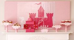 Adorable pink dessert display for a princess & knight themed birthday party {Photo by: Cellar Door Photography}