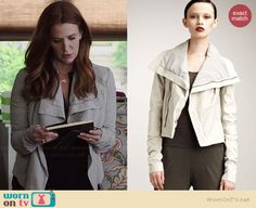 Carrie's white leather jacket on Unforgettable.  Outfit Details: http://wornontv.net/35792/ #Unforgettable
