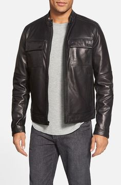 Black Rivet Band Collar Leather Moto Jacket (Online Only) available at #Nordstrom