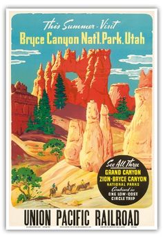 This Summer Visit Bryce Canyon Nat'l. Park Utah - See All Three: Grand Canyon, Zion, Bryce National Parks - Union Pacific Railroad - Vintage World Travel Poster c.1935 - Master Art Print - 13in x 19in Pacifica Island Art http://www.amazon.com/dp/B00JMSZ6E6/ref=cm_sw_r_pi_dp_ANJLub0BRVPSJ