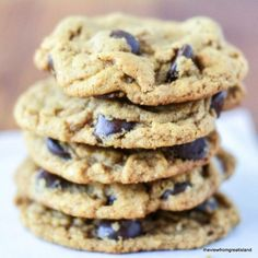 Flourless Almond Butter Chocolate Chip Cookies ~ without flour or butter, and they beat your favorite chocolate chip cookie by a mile!