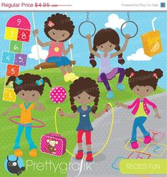 80 OFF SALE Recess kids clipart commercial by Prettygrafikdesign,