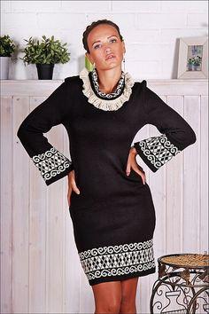 """Купить Платье """" Офис"""" - чёрно-белый, платье для офиса, черное платье, платье с принтом"""