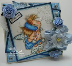 Handmade OOAK Cards by The Hoosier Stamper: Mo's Digital Winter Fairy Halla